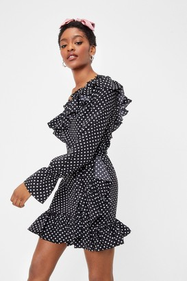 Nasty Gal Womens Our Options Are Open Polka Dot Dress - Black