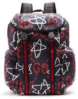 Gucci Gucci Ghost-print Canvas Backpack