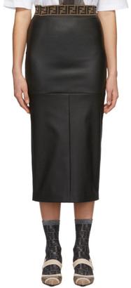 Fendi Black Leather Forever Skirt