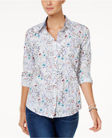 Charter Club Petite Cotton Butterfly-Print Roll-Tab Shirt, Only at Macy's