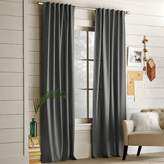 west elm Cotton Canvas Pole Pocket Curtain - Steel