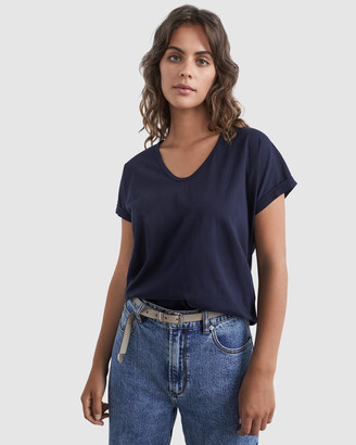 French Connection Women's T-Shirts & Singlets - Organic Dipped Hem T Shirt - Size One Size, L at The Iconic