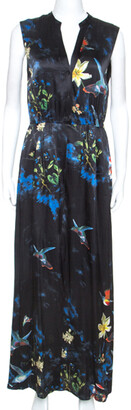 Alice + Olivia Black Silk Marianna Enchanted Forest Maxi Dress M