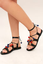 Madden-Girl Baliee Black Lace-Up Pompom Sandals