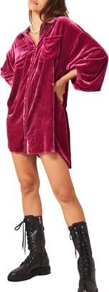 Free People Luxe Long Sleeve Velvet Shirtdress