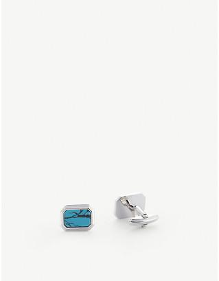 Lanvin Rectangular turquoise and rhodium-plated cufflinks