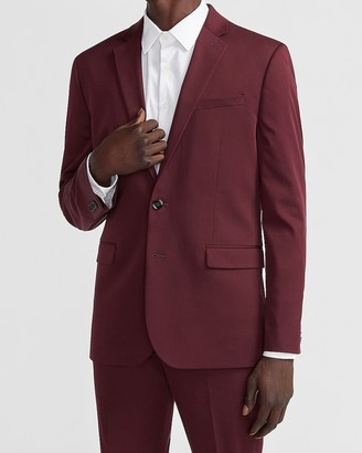 Express Slim Solid Burgundy Cotton Sateen Suit Jacket