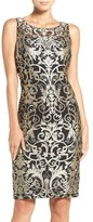 Adrianna Papell Metallic Embroidered Sheath Dress (Regular & Petite)