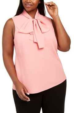 Bar III Trendy Plus Size Solid Tie-Neck Sleeveless Blouse, Created for Macy's