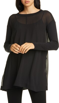Eileen Fisher Silk Georgette Tunic Top