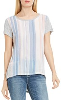 Vince Camuto Watercolor Stripe Mixed Media Tee