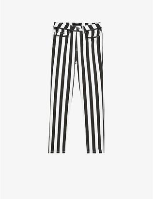 The Kooples Stripe high-rise skinny jeans