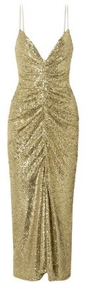 Monique Lhuillier Ruched Sequined Tulle Midi Dress