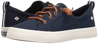 Sperry Crest Vibe Washed Linen (Navy) Women's Lace up casual Shoes