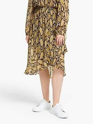 Second Female Snake Print Ruffle Midi Skirt, Chai Tea
