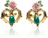 Dolce & Gabbana Heart and Flower Brass Earring