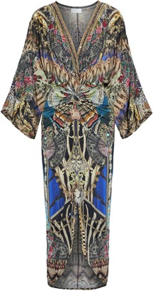 Camilla Friend In Flora Twist-front Crystal-embellished Stretch-jersey Maxi Dress