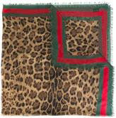 Gucci leopard print scarf with Web - women - Silk/Modal - One Size
