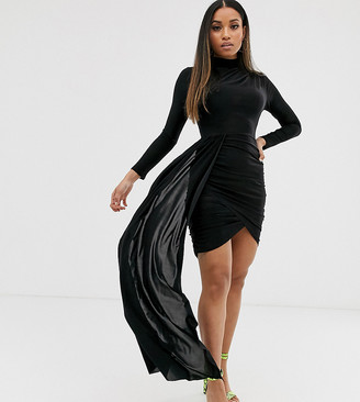 ASOS DESIGN Petite slinky drape wrap mini dress with sash detail