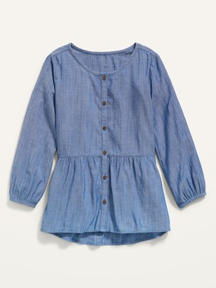 Old Navy Long-Sleeve Button-Front Chambray Top for Girls