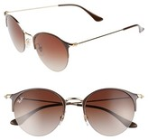 Ray-Ban Women's 50Mm Round Clubmaster Sunglasses - Brown/ Gold
