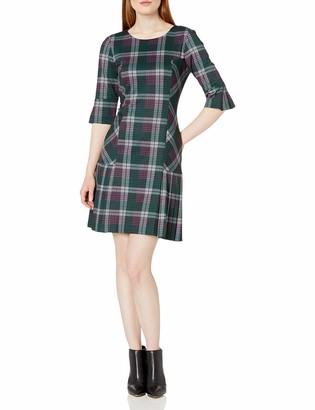 Tahari ASL Women's Long Sleeve Printed Ponte Dress with Pleated Skirt