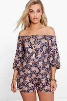 Boohoo Plus Zoey Paisley Print Off The Shoulder Playsuit multi