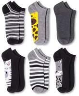 Xhilaration Women's Low-Cut Socks 6-Pack Zoo Animals Black One Size