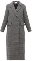 Ganni Checked Wool-blend Longline Coat - Womens - Dark Grey