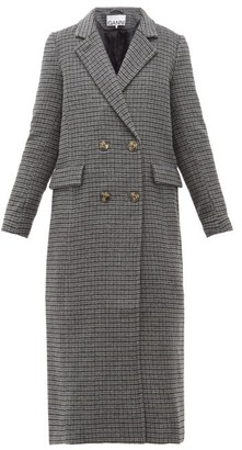 Ganni Checked Wool-blend Longline Coat - Womens - Dark Grey