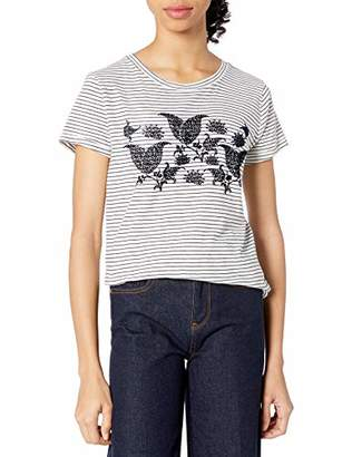 Lucky Brand Women's Striped Paisley Flocked TEE