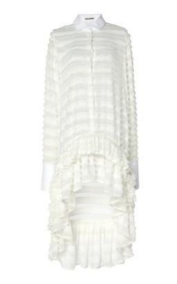 ANAÏS JOURDEN Confetti Ruffled White Tulle Shirtdress