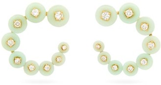 Fernando Jorge Surrounding Diamond & 18kt Gold Earrings - Light Green