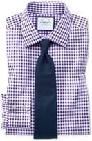 Charles Tyrwhitt Extra Slim Fit Non-Iron Gingham Purple Cotton Formal Shirt Single Cuff Size 14.5/32