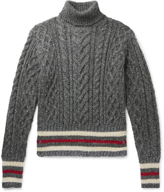 Thom Browne Striped Cable-Knit Melange Wool And Mohair-Blend Rollneck Sweater
