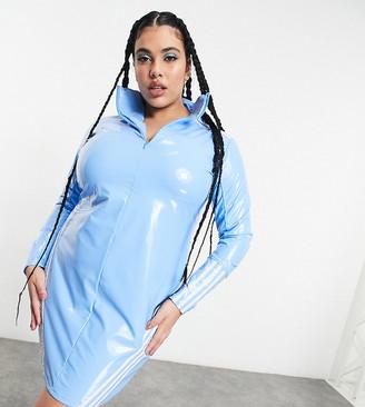 Ivy Park adidas x Plus zip through latex dress in light blue