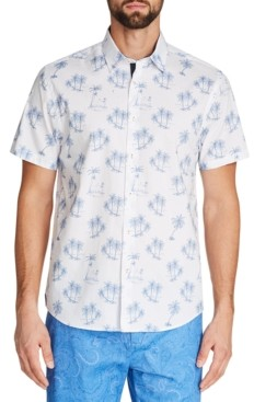 Tallia Men's Slim-Fit Stretch Palm Tree Short Sleeve Shirt and a Free Face Mask With Purchase