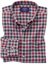 Charles Tyrwhitt Extra Slim Fit Button-Down Non-Iron Twill Red and Navy Blue Gingham Cotton Casual Shirt Single Cuff Size Medium