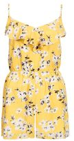 Quiz Yellow Floral Print Frill Playsuit