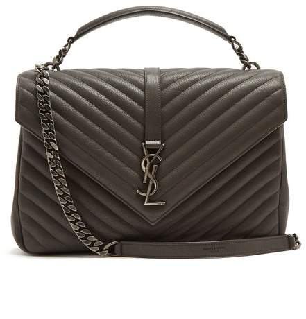 Saint Laurent College Large Quilted Leather Shoulder Bag - Womens - Dark Grey