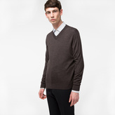 Paul Smith Men's Dark Brown Merino-Wool V-Neck Sweater