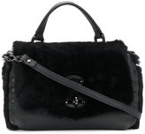 Zanellato fur flap crossbody bag