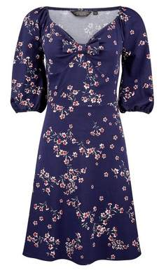 Dorothy Perkins Womens Floral Print Jersey Fit And Flare Cotton Blend Dress