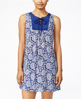 As U Wish Juniors' Printed Lace-Up Shift Dress