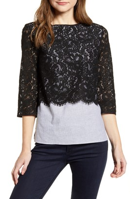 Ming Wang Lace Overlay Cotton & Linen Blouse
