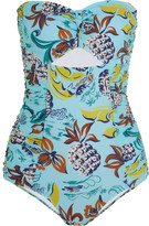 Anna Sui Cutout Printed Bandeau Swimsuit - Sky blue