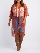 Charlotte Russe Plus Size Lace Fringe-Hem Kimono