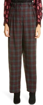 Dries Van Noten Poska Glen Plaid Pleated Wool Blend Trousers
