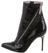 Luciano Padovan Patent Leather Pointed-Toe Ankle Boots