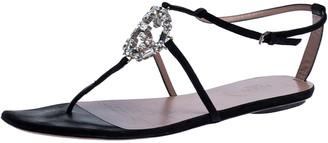 Gucci Black Suede Crystal Embellished Thong Flat Sandals Size 40